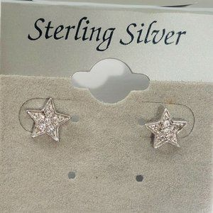 NEW CZ Star 925 Sterling Silver Earrings